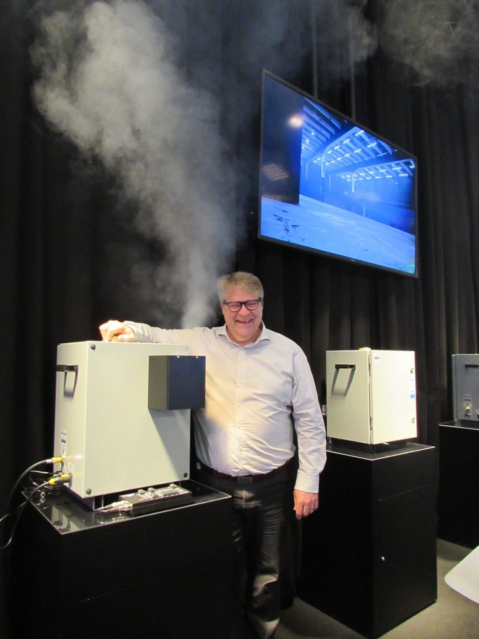 IMG MDG CEO Martin Michaud with the Me WPE weather resistant fog generator