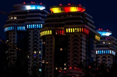 Complejo residencial en Rusia usó las luces Exterior 200 de Martin Professional en la celebración de la final de la Copa Mundial 2014.