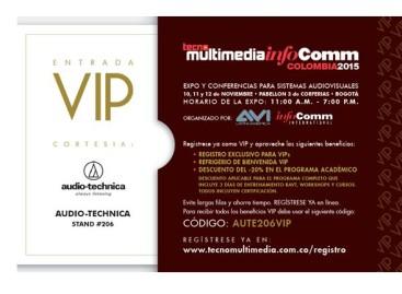 Acompañe a Audio-Technica en TecnoMultimedia InfoComm Colombia 2015