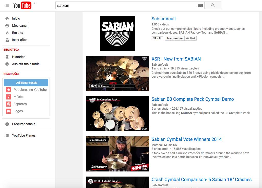Sabian Youtube
